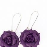 Обеци - лилави рози